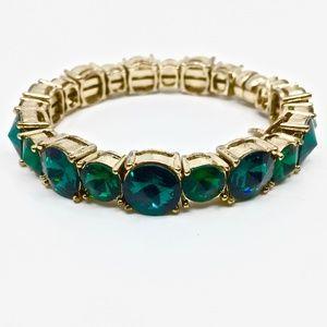 TASHA~emerald green rivoli crystal~GOLD-PLATED BANGLE BRACELET